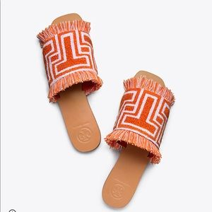 Tory Burch T Terry Flat Slide Size 6